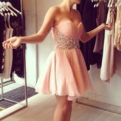 Pretty Pearl Pink Mini Chiffon Prom Dress With Beadings, Short Prom Dresses, Cocktail Dresses, Mini on Luulla