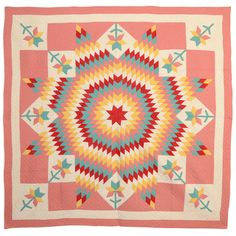 Lone Star Quilt with Tulips Signed and Dated 1931 | From a unique collection of antique and modern quilts at http://www.1stdibs.com/furniture/folk-art/quilts/