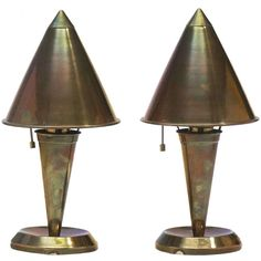 French Art Deco Pair Of Small Metal Table Lamps | From a unique collection of antique and modern table lamps at http://www.1stdibs.com/furniture/lighting/table-lamps/