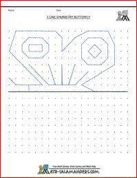 Line Symmetry Picture Butterfly, printable symmetry worksheet