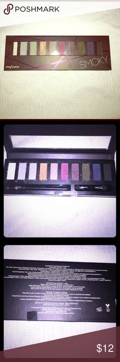🌟Smoky Eye Palette by Pro Fusion💃🏻 This Palette includes 10 colors , an eyeshadow sponge applicator, and one eyeliner pencil. None of them are broken, they just have a few specks on the lighter colors that have come off.  This will give u the smoky eye. 👁👁This product is not tested on animals! Yay! Ingredients included in last pic. Profusion Makeup Eyeshadow