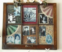 Old family photos in window frame w/grandma's quilt squares.
