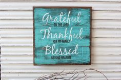 Wood Sign, Grateful Thankful Blessed Sign,Turquoise Wood Sign, Inspirational Religious Wood Sign, Rustic Primitive Teal Sign, Shabby Chic by TinSheepShop on Etsy