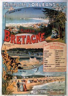 Visiter la Bretagne, Vintage travel beach poster #affiche #essenzadiriviera.com