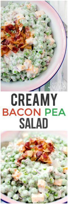 4 Points About Vintage And Standard Elizabethan Cooking Recipes! Creamy Bacon Pea Salad Recipe - Family Fresh Meals - Love This Reicpe Pea Salad Recipes, Vegetable Recipes, Veggie Food, Salades Taco, Side Dish Recipes, Dinner Recipes, Side Dishes, Ark Recipes, Shrimp Recipes