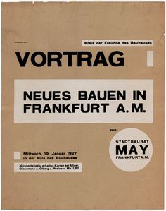 Herbert Bayer, Neues Bauen in Frankfurt a.M (New architecture in Frankfurt am Main) (Poster advertising Ernst May lecture at the Bauhaus, Dessau, Germany), 1927