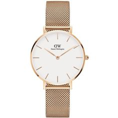 Daniel Wellington Women's Classic Petite Melrose Rose Gold and Mesh... (8,425 DOP) ❤ liked on Polyvore featuring jewelry, watches, accessories, gold, 18k rose gold jewelry, red gold jewelry, petite watches, 18k watches and rose watches