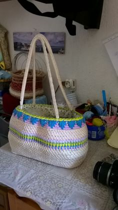 Handmade crocket bag in rope and cotton