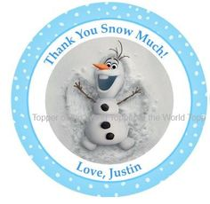 Olaf  Birthday Party Favor Thank You Tags