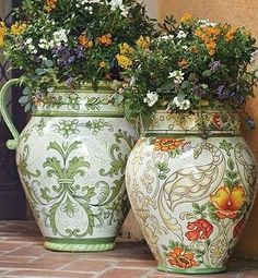 Beautiful Planters - Exquisite birds and botanicals, intricately hand-painted on smooth all-weather resin, will enchant your entryway or outdoor living area. Beautiful Gardens, Beautiful Flowers, Serenity Garden, Sage Garden, Talavera Pottery, Italian Pottery, Garden Painting, Garden Planters, Dream Garden