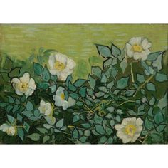 Wilde rozen, een prachtig kunstwerk van Vincent van Gogh. Geschilderd in mei - juni 1889 Leverbaar in veel verschillende maten en lijsten - WinjeWanje Interieurs