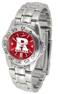 NCAA Rutgers Scarlet Knights Ladies' Sport Steel AnoChrome Watch