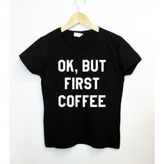 Ok but First Coffee Shirt Breakfast Pancake Tumbr Tee Lazy Monday... ($18) ❤ liked on Polyvore featuring tops, t-shirts, black, women's clothing, pattern t shirts, coffee t shirt, bleach shirt, checkered shirt and bleach t shirt