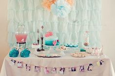 Ariel-inspired mermaid birthday party - gorgeous ombre scalloped fondant cake, ruffle shower curtain from BB and tiaras from Joann's dollar bin Happy 7th Birthday, 2nd Birthday Parties, Girl Birthday, Birthday Ideas, Birthday Celebration, Kid Parties, Themed Parties, Little Mermaid Birthday, Little Mermaid Parties