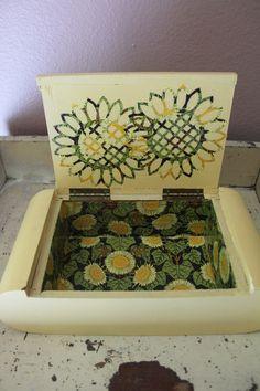 Sunflower box-Upcycled Jewelry Box-Cigar Box