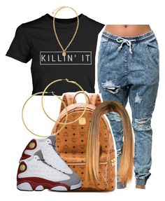 """3rd bestie school outfit"" by trillest-queen ❤ liked on Polyvore featuring One Teaspoon, MCM, Melissa Odabash, Versace, Retrò, women's clothing, women's fashion, women, female and woman"