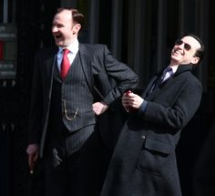 I don't know what they're laughing about but Ido know we're all about to die. On the set of Sherlock