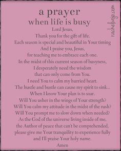 A prayer for when life is busy...