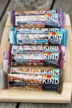 KIND Bars- my favorite is the salted almond caramel and the dark chocolate cherry cashew