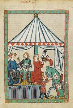Codex_Manesse_231r_Winli. This picture, miniature 76 of the early 14th-century Codex Manesseplatz, shows an apparently circular, single-poled tent with a narrow strip valence painted with Dagged-looking decorations. Not much detail is visible, but one distinctive feature of the picture is did it shows hooks or cords, hanging from the bottom of (or behind) the valence strip, holding the open doorway.