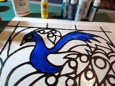 How to make faux stained glass with acrylic paint and glue!
