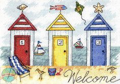 Cross Stitch Mini Kit ~ Dimensions Three Colorful Beach Houses Welcome # 65082