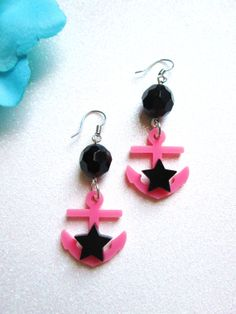 NAUTICAL STARSBlack and Pink Laser Cut by IMPARTANDACCESSORIES, $9.95