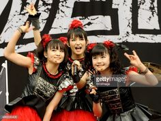 Yuimetal, Su-metal and Moametal of Babymetal perform on day 3 of The Leeds Festival at Bramham Park on August 30, 2015 in Leeds, England.