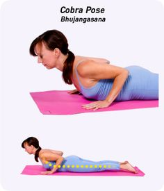 Cobra Pose — Bhujangasana (boo-jahn-GAHS-uh-nuh) — stretches the chest while strengthening the spine and shoulders.