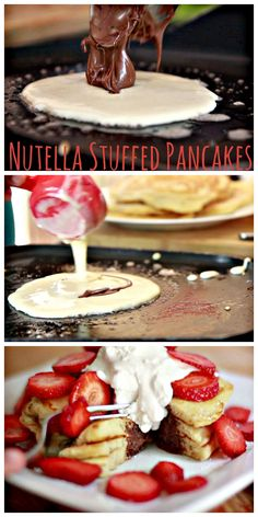 Nutella Stuffed Pancakes from @Debbie Arruda Arruda Arruda Arruda Arruda Arruda Cavero Can Cook No syrup needed for this recipe, just some fresh sliced fruit and whipped cream!