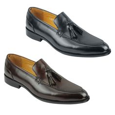 Mens Real Leather Slip-on Tassel Loafers Retro Smart Casual Shoes in Black Brown