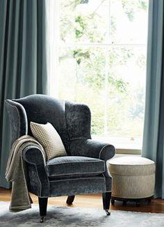 English Armchair! Dark blue velvet married with a mustard yellow armchair