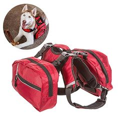 BINGPET Adjustable Dog Backpack for Hiking Camping Travel Pack Outdoor Accessory Saddlebag, Red M * Click image to review more details.