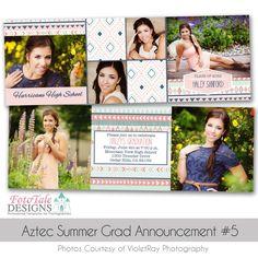 Aztec Summer Graduation Announcement custom photoshop templates for photographers Graduation Announcement Cards, Graduation Announcements, Graduation Templates, Senior Girls, Card Templates, Photo Cards, All The Colors, Aztec, Photographers