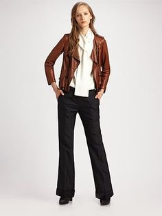 Phillip Lim Ruffled Leather Jacket in the yummiest brown - heaven!