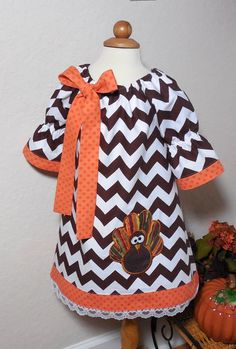 Toddler Girl Peasant Dress for Thanksgiving or Halloween or Fall Chevron Turkey 6 mo 9 mo 12 mo 18 mo 24 mo 2T 3T 4T 5T on Etsy, $42.00