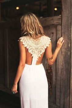 bohemian gowns + lace gowns + open back + bohemian wedding - Google Search