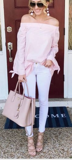 Pink off the shoulder top-