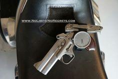 #bondarms #pistol #xplus #watch & #kershaw #knife on seat of #custom #chopper #motorcycle