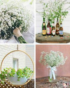 As folhagens e flores plantadas ficam lindas colocadas em vasos de tamanhos variados. Abuse da gypsophila (mais conhecida como mosquitinho) na decoração do seu casamento no campo.