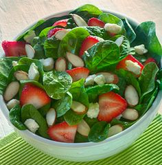 Strawberry Spinach Salad, made with BRIANNAS Blush Wine Vinaigrette