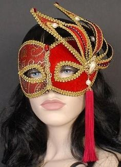 Red & Gold Masquerade Mask