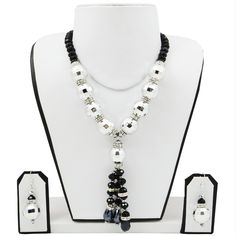 Silver Large Beads with Black Crystal Beads Necklace #handmade #jewellery #necklace fashionvalley.in