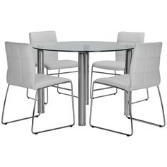 Set includes: Round table and four side chairs Update your dining space with the contemporary Napoli dining table set. Enjoy the aesthetic beauty of chrome and glass, plus the comfort of tufted, upholstered seats as you reinvent your hom White Dining Room Table, Round Dining Table Sets, White Round Tables, Glass Top Dining Table, Modern Dining Room Tables, Dining Room Sets, Dining Room Chairs, Upholstered Dining Chairs, White Chairs