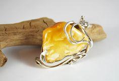 Unique Egg Yolk Natural Baltic Amber Pendant 157 by AmberAndMore