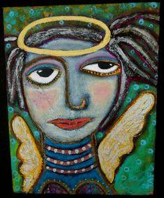 """A Gentle Landing"" a beautiful angel painting on canvas. #angels #art #painting #wings #folkart www.traceyannfinley.com"