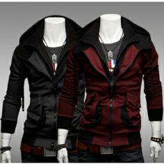 US$ 25,17+ free shipping! Elegante color de bloqueo Escudo Chaqueta Casual dos piezas falso capucha capucha para hombres