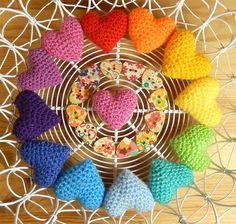 Rainbow Hearts, Free Pattern, Moji-Moji Design