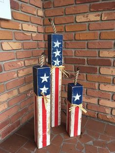 Perfect Fourth of July front porch decor! Find these rustic firework decorations on Etsy! | Rustic Front porch decor, Firecracker Set, 4th of July, Fourth of July, party decor, American flag, home decor, garden decor, holiday decor | #ad #fourthofjuly #homedecor