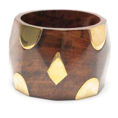 Darla Bangle  Chunky wood bangle with gold details